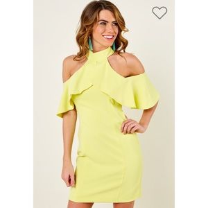 Yellow Open Shoulder Dress